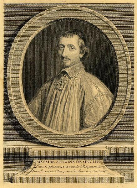 WILLE Johann Georg (graveur), WILL Jean, CHAMPAIGNE Philippe de (d'après, peintre) : Portrait d'Antoine de Singlin