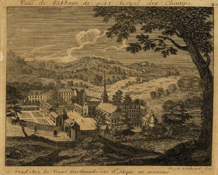 HORTHEMELS Louise Magdeleine (graveur) : Vue de l'abbaye de Port-Royal des champs