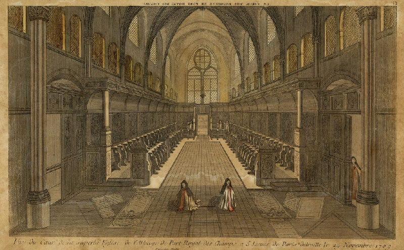 anonyme (graveur) : Vue du choeur de l'Eglise de l'abbaye de Port-Royal des champs