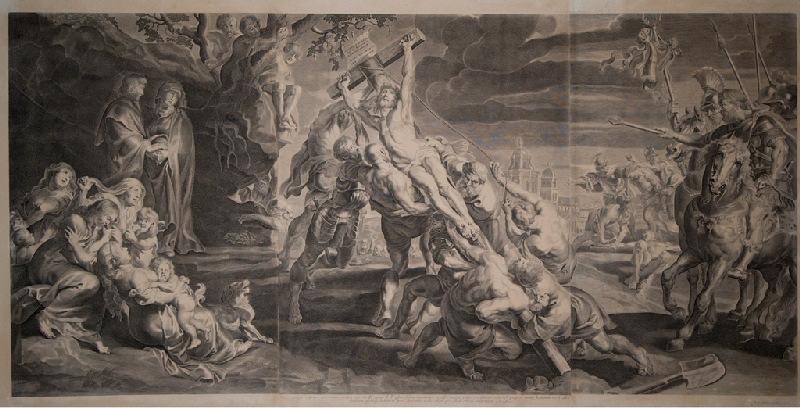 anonyme (graveur), RUBENS Pierre Paul (d'après, peintre) : Elévation de la croix