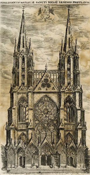 SON Nicolas de (attribué, graveur) : Façade de l'Eglise Saint Nicaise de Reims