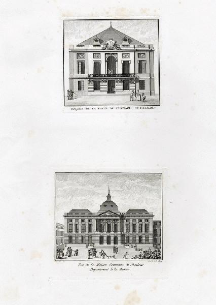 VARIN Joseph I (graveur), VARIN Charles Nicolas (graveur) : Vue de la maison commune de Châlons, département de la Marne, Façade de la salle de spectacle de Châlons