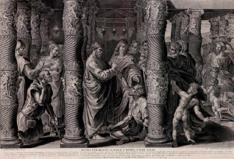 DORIGNY Nicolas (graveur), RAPHAEL (d'après, peintre) : Saint Pierre et saint Jean guérissant un boiteux