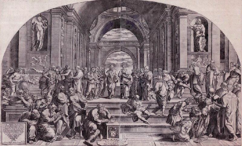 L'école d'Athènes ; Paul prêchant à Athènes devant le temple au dieu inconnu