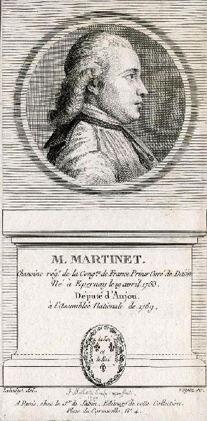 MALBESTE Georges (graveur) : Portrait de l'abbé Martinet, député d'Anjou