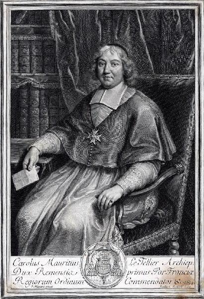 EDELINCK Gérard (graveur), MIGNARD Pierre (d'après, peintre) : Portrait de Charles Maurice Le Tellier