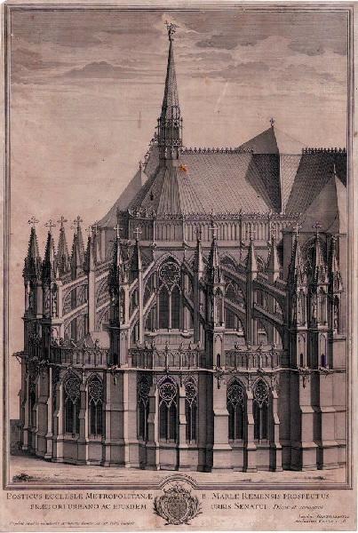 POILLY Nicolas le Jeune de (graveur), GENTILLASTRE Jacques (d'après) : Chevet de la Cathédrale de Reims vu du côté Nord