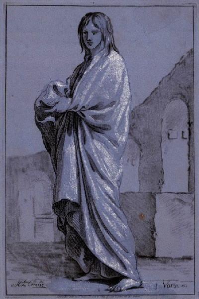 VARIN Joseph I (graveur), CHALLE Charles Michel Ange (d'après, peintre) : Académie de femme drapée à l'antique