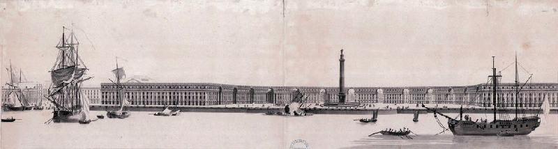 VARIN Charles Nicolas (graveur), LOUIS Louis Nicolas Victor (d'après, architecte), LOUIS Victor (dit) : Vue perspective de la Place des Victoires qui doit être exécutée à Bordeaux sur l'emplacement du Château Trompette