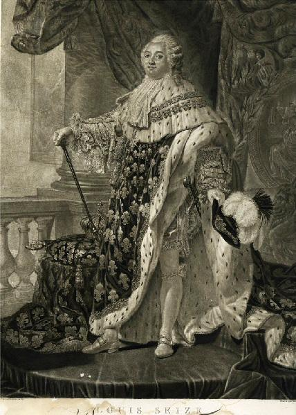 ALLAIS Louis Jean (graveur), CALLET Antoine François (d'après, peintre) : Portrait en pied de Louis XVI en costume de sacre