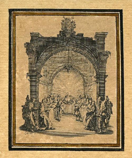 CALLOT Jacques (graveur) : La Passion de Notre Seigneur (02), Il célèbre la Cène