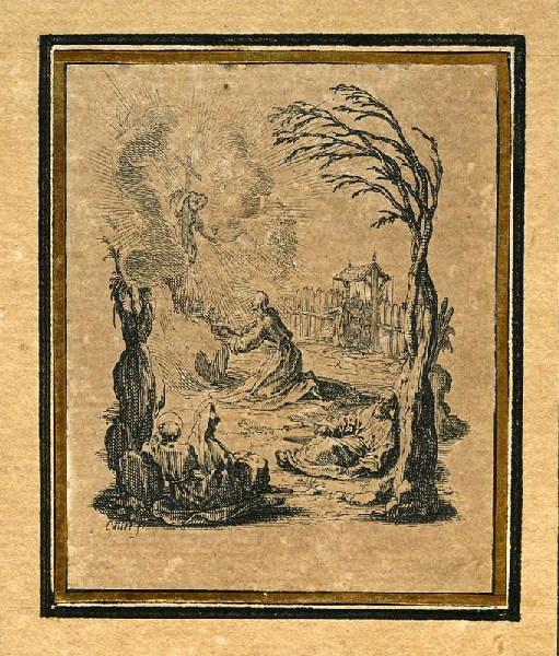 CALLOT Jacques (graveur) : La Passion de Notre Seigneur (03), Il est en prières au Jardin des Oliviers