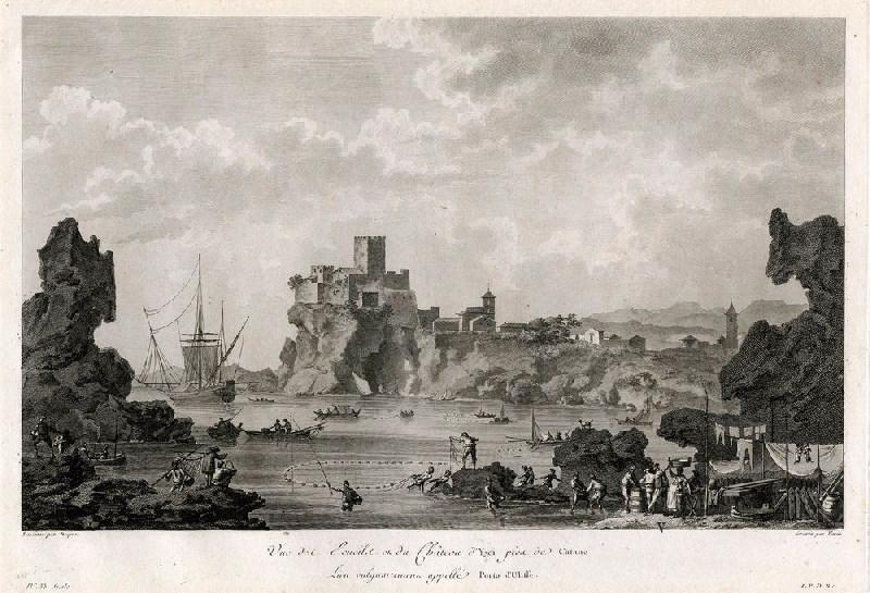 VARIN Charles Nicolas (graveur), VARIN Joseph I (graveur), DESPREZ Louis Jean (d'après) : Vue des écueils et du château d'Yaci près de Catane