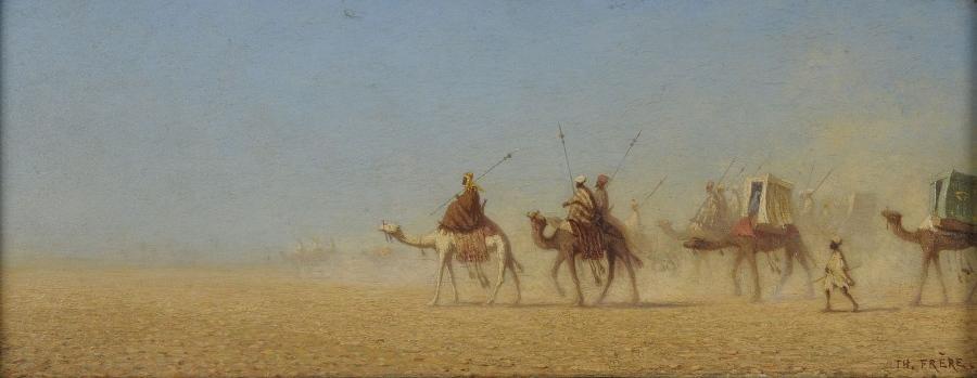 Caravane traversant le désert (titre d'origine transcrit sur l'inventaire après décès et sur le cartel fixé au cadre d'origine) ; Caravane d'hadjis allant à la Mecque (ancien titre) ; Caravane traversant le désert d'Arabie (titre du catalogue Sartor)