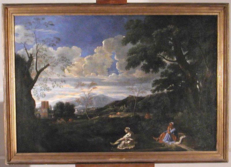 POUSSIN Nicolas (d'après, peintre) : Paysage : jeune femme se lavant les pieds