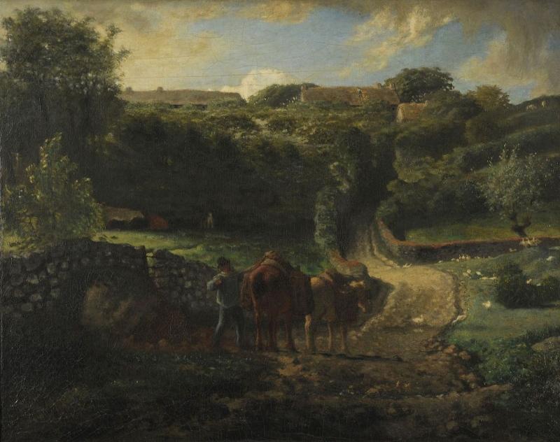 MILLET Jean-François (peintre) : Hameau Cousin à Gréville