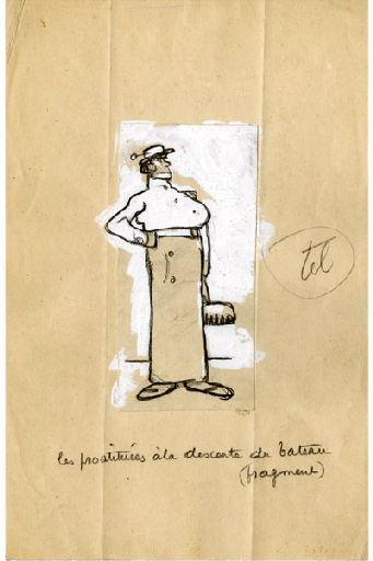 BLANCHOT Gustave (dessinateur), BOFA Gus (dit, dessinateur) : U-713 ou les gentilshommes d'infortune : Les prostituées à la descente du bateau (fragment)