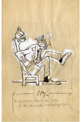BLANCHOT Gustave (dessinateur), BOFA Gus (dit, dessinateur) : U-713 ou les gentilshommes d'infortune : Le capitaine Karl, en proie à des concepts métaphysiques