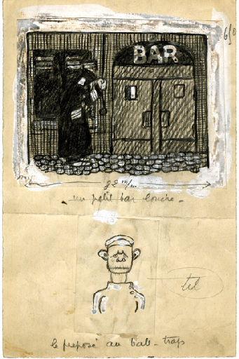 BLANCHOT Gustave (dessinateur), BOFA Gus (dit, dessinateur) : U-713 ou les gentilshommes d'infortune : Un petit bar louche. Le préposé au ball-trap