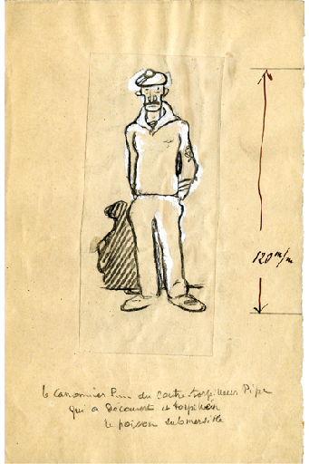 BLANCHOT Gustave (dessinateur), BOFA Gus (dit, dessinateur) : U-713 ou les gentilshommes d'infortune : Le canonier P... du contre-torpilleur Pipe qui a découvert et torpillé le poisson submersible