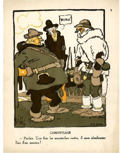 BLANCHOT Gustave (dessinateur), BOFA Gus (dit, dessinateur); DUMARCHEY Pierre (écrivain), MAC ORLAN Pierre (dit, écrivain) : Livre de la Guerre de Cent Ans (Le) : camouflage - Parfait. Une fois les moustaches rasées, il aura absolument l'air d'un mouton