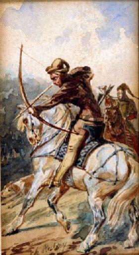 Page à cheval portant le casque de son seigneur_0