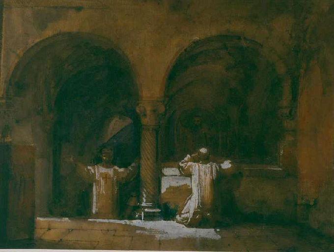Deux moines dans une chapelle des premiers chrétiens à Rome_0