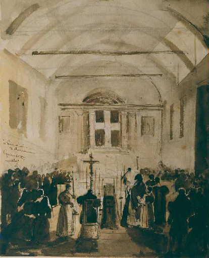 Intérieur d'église avec célébration de la messe