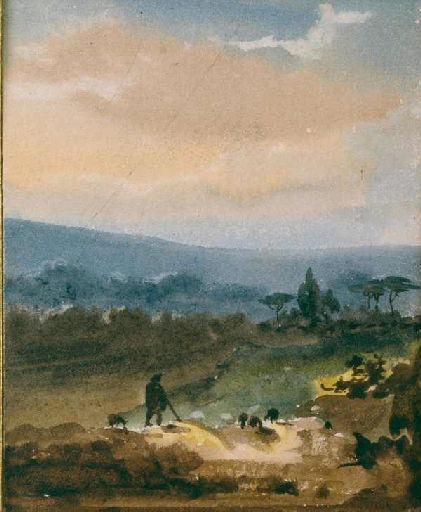 Paysage avec au premier plan un berger et des moutons