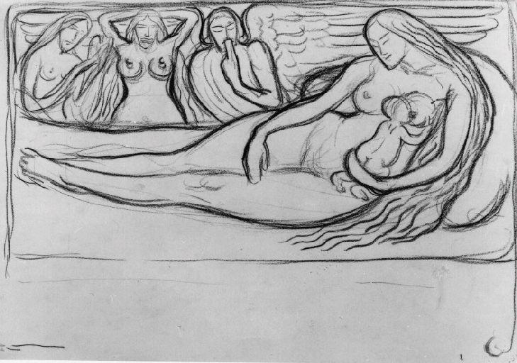 Femme nue allaitant