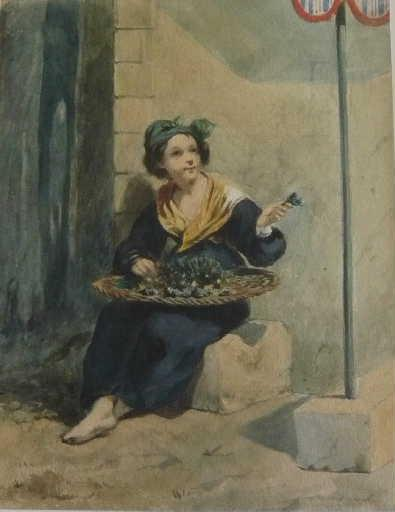 La Bouquetière (A girl selling violets)_0
