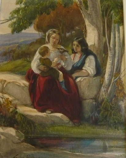 La jeune famille. Un enfant joue avec un oiseau_0