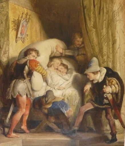Les enfants d'Edouard (Richard III à droite ordonne de faire étouffer ses enfants)