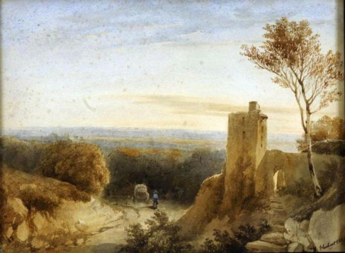 Vue en Dauphiné, ruines au bord d'une route