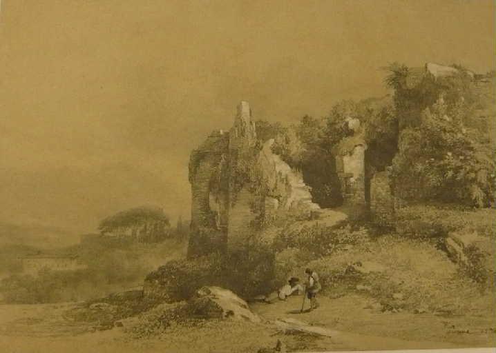 Vue italienne avec deux paysans près de ruines_0