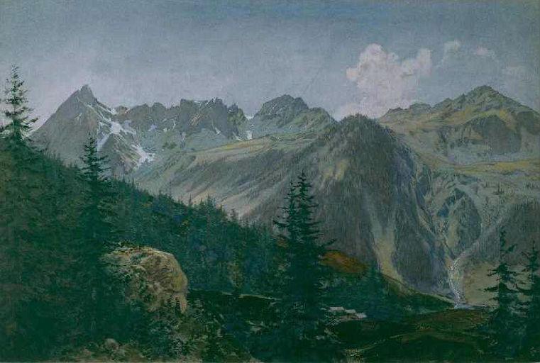 Paysage des Alpes avec deux groupes de maisons_0