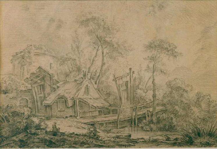 Paysage avec chaumière et pont de bois_0
