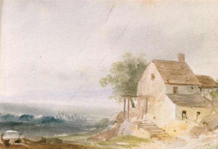 Paysage avec maison à droite