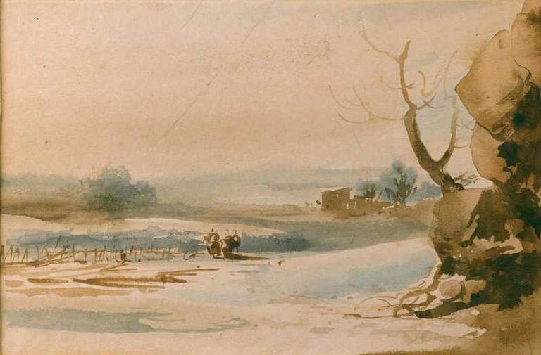 Paysage avec des rochers et un arbre au premier