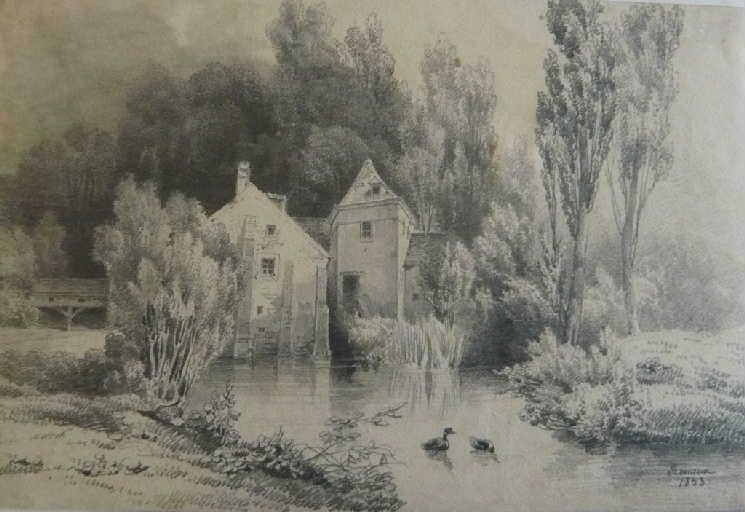 Manoir au bord d'un étang_0