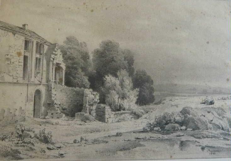Paysage avec maison en ruines_0