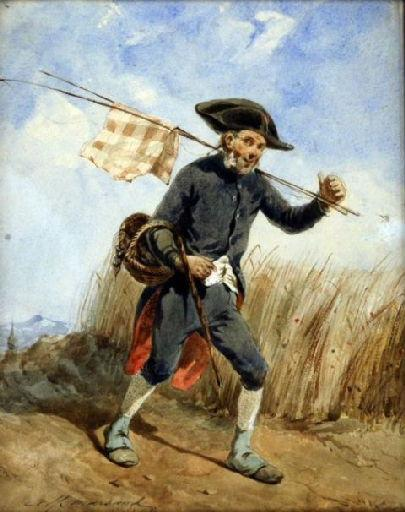 Invalide revenant de la pêche (An invalid passing throught a corn field)