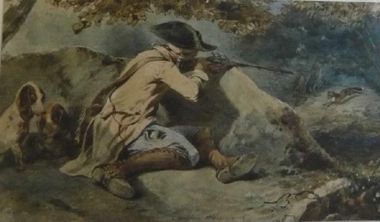 L'affût, chasseur tirant un renard