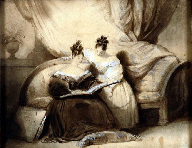 Deux femmes assises sur un canapé, regardant un carnet de dessin ; Two ladies a sofa, looking at a sketch-book_0