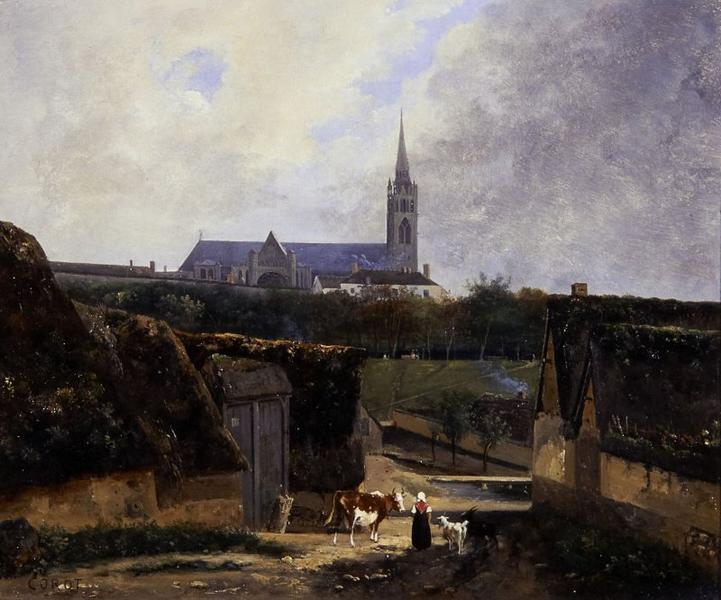 Entrée de ferme près de la basilique Saint-Denis (Titre donné par la galerie) ; Vue présumée de Saint-Denis_0