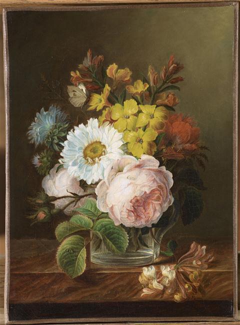 Bouquet de fleurs dans un verre d'eau_0