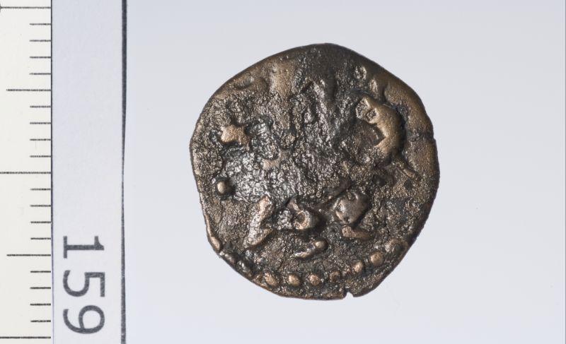 pièce de monnaie (Monnaie ibéro-punique (Ebusus), EBU-18) : Petit bronze au dieu Bès sur les deux faces