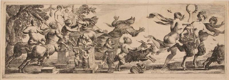 Triomphes marins et des épisodes bachiques : Centaures interrompant un sacrifice (Feuille appartenant à une suite de 5 pièces en largeur sous forme de frise présentant des triomphes marins et des épisodes bachiques)_0