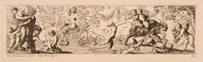 Frises romaines des cortèges sacrificiels et des bacchanales (11) : Combat entre amours et satyres ; Enlèvement d'une bacchante par un satyre_0