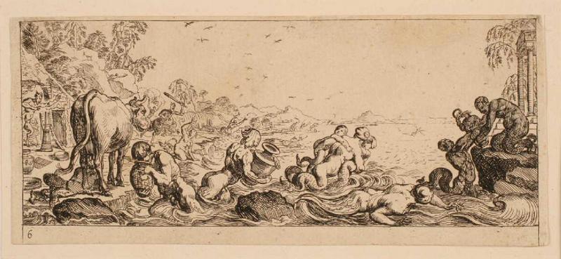 Ensemble dit Petites frises : Satyres soignant le troupeau des nymphes ; Triomphes marins 6